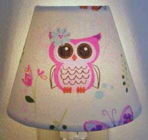 pink owl nursery night light on baby night light