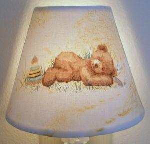 teddy bear toile nursery night light yellow